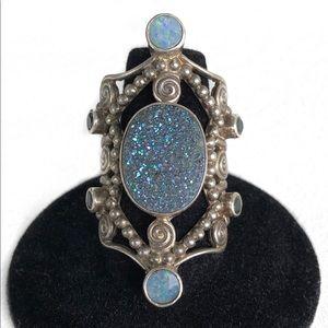 Rare Iridescent Gem Vintage Sterling Silver Ring